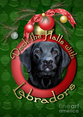 Retriever Digital Art - Christmas - Deck The Halls With Labradors by Renae Laughner
