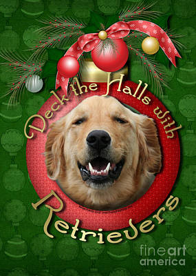 Christmas - Deck The Halls With Retrievers Art Print by Renae Laughner
