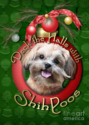 Shih-poo Digital Art - Christmas - Deck The Halls With Shihpoos by Renae Laughner
