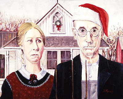 Painting - Christmas American Gothic by Sheila Kinsey