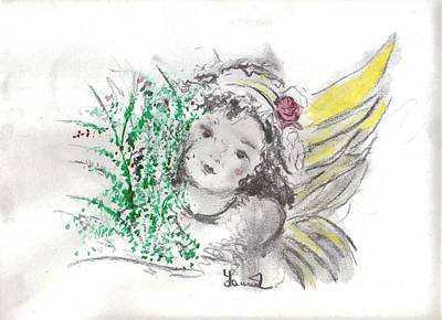 Christmas Angel Art Print by Laurie L