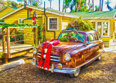 Art Print featuring the painting Christmas At Crystal Cove by Gregory Dyer