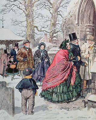 Christmas At Dreamthorpe Art Print by Charles Edmund Brock