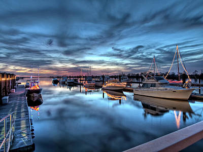 Christmas At The Marina Art Print