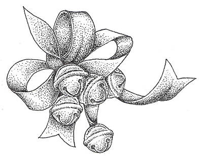 Ribbon Drawing - Christmas Bells by Christy Beckwith