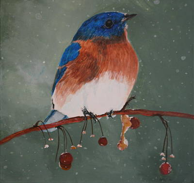 Painting - Christmas Bluebird by Betty-Anne McDonald