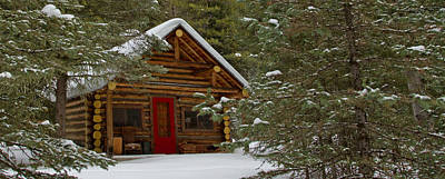 Christmas Cabin Print by Sandy Sisti