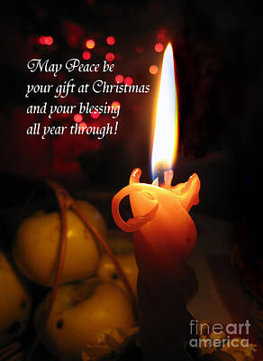 Photograph - Christmas Candle Peace Greeting  by Ausra Huntington nee Paulauskaite