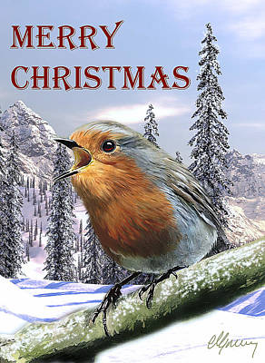 Robin Mixed Media - Christmas Card Red Robin by Michael Greenaway