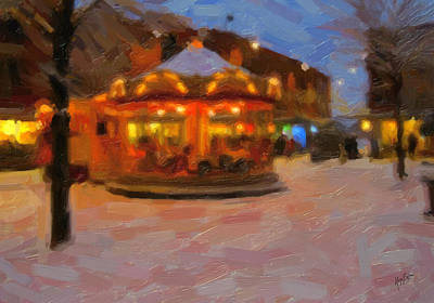 Snow Painting - Christmas Carrousel by Nop Briex