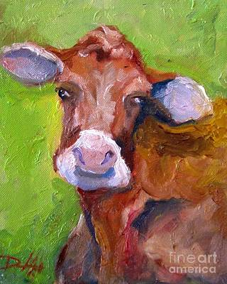 Christmas Cow On Green Art Print by Delilah  Smith