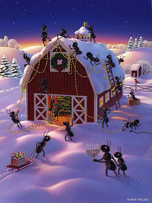 Farm Scene Painting - Christmas Decorator Ants by Robin Moline