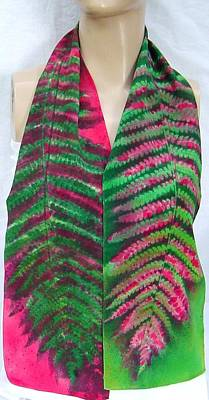 Morgansilk Tapestry - Textile - Christmas Ferns Silk Crepe Scarf by Morgan Silk