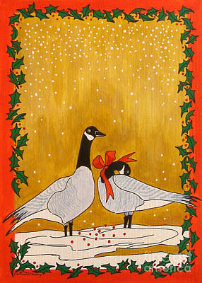 Christmas Geese Art Print by Susan Greenwood Lindsay