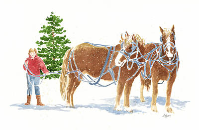 Painting - Christmas Horses by Audrey Peaty