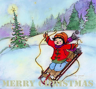 Painting - Christmas Joy Child On Sled by Glenna McRae