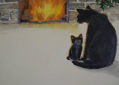 Painting - Christmas Kitten by Cliff Spohn