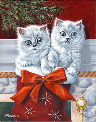 Christmas Kittens Art Print by Richard De Wolfe