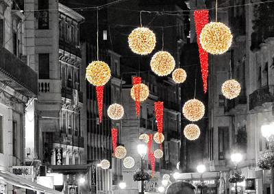 Christmas Lights In Alicante Art Print by Marianna Mills