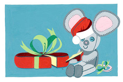 Painting - Christmas Mouse by Terry Taylor