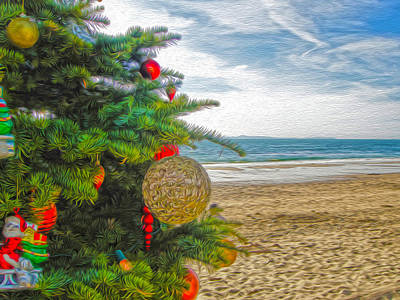 Art Print featuring the painting Christmas On The Beach by Gregory Dyer