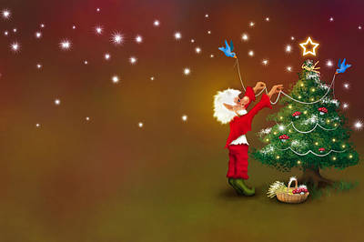 Digital Art - Christmas Pixie by Mariella Wassing