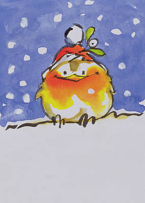 Painting - Christmas Robin by Diane Matthes