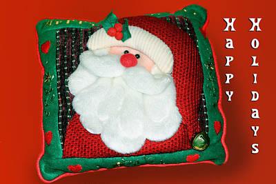 Christmas Santa Pillow Art Print by Linda Phelps