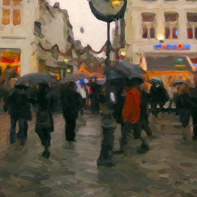Christmas Painting - Christmas Shopping In Maastricht by Nop Briex