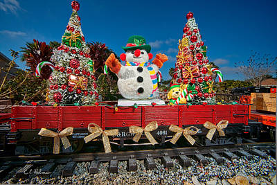 Photograph - Christmas Snowman On Rails by Christopher Holmes