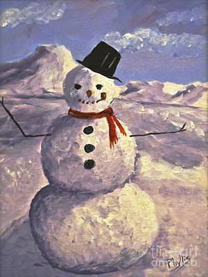 Painting - Christmas Snowman by Phyllis Kaltenbach