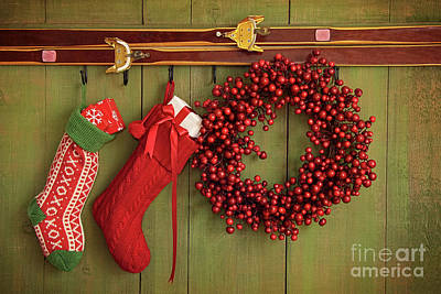 Christmas Stockings And Wreath Hanging On  Wall Art Print