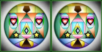 Conversion Digital Art - Christmas Tree - Gently Cross Your Eyes And Focus On The Middle Image by Brian Wallace
