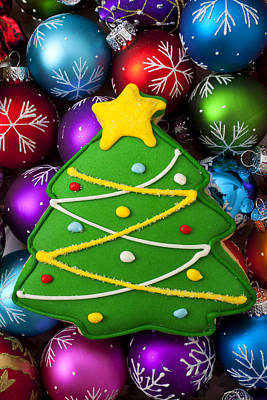 Christmas Tree Cookie With Ornaments Art Print by Garry Gay