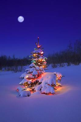 Christmas Tree Glowing Art Print by Carson Ganci