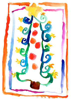 Painting - Christmas Tree by Julien Jollon Age Six