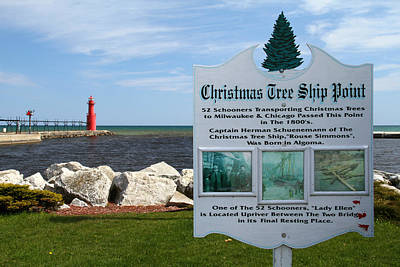 Photograph - Christmas Tree Ship Point At Algoma Harbor by Mark J Seefeldt