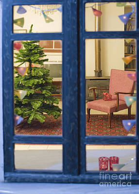 Christmas Tree Through Window Art Print by Noam Armonn