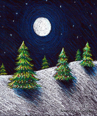 Pine Trees Drawing - Christmas Trees II by Nancy Mueller