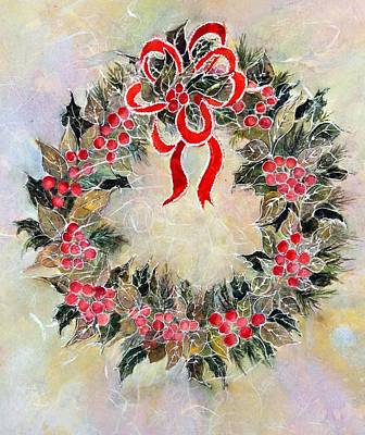 Painting - Christmas Wreath by Pamela Lee