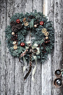 Photograph - Christmas Wreath Retro by Charline Xia