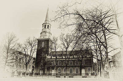 Old Christ Church Photograph - Christs Church Philadelphia In Sepia by Bill Cannon