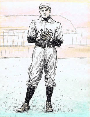 Hall Of Fame Drawing - Christy Mathewson by Mel Thompson