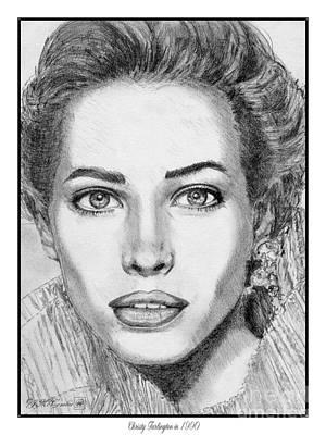 Catwalk Drawing - Christy Turlington In 1990 by J McCombie