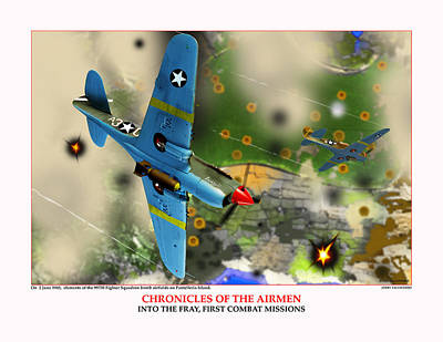 Chronicles Of The Airmen Into The Fray Art Print by Jerry Taliaferro