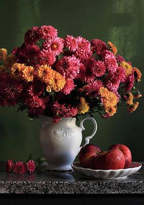 Healthy Eating Photograph - Chrysanthemum Flowers In Vase by Panga Natalie Ukraine