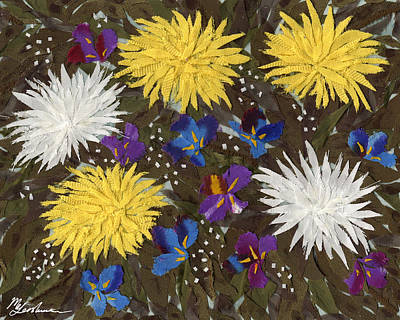 Chrysanthemums And Irises Art Print by Marina Gershman
