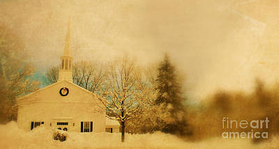 Massachusetts Photograph - Church At Christmas by HD Connelly