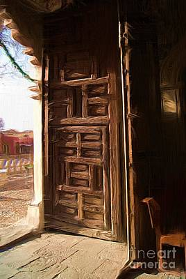 Church Door At Atotonilco Art Print by John  Kolenberg