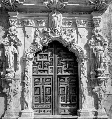 Photograph - Church Door - Black And White by David Morefield